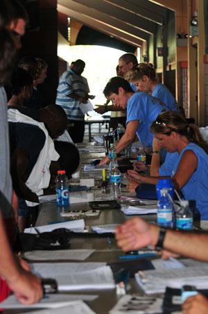 Volunteers register campers at the 2009 LFG Football Camp in Florida